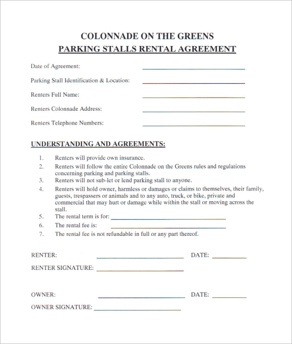 Parking Stall Lease Agreement Template