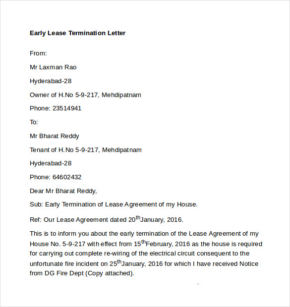 Early Lease Termination Letters   Download Free Documents In