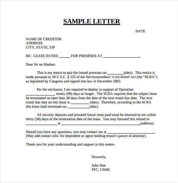 Letter For Lease Termination  BesikEightyCo
