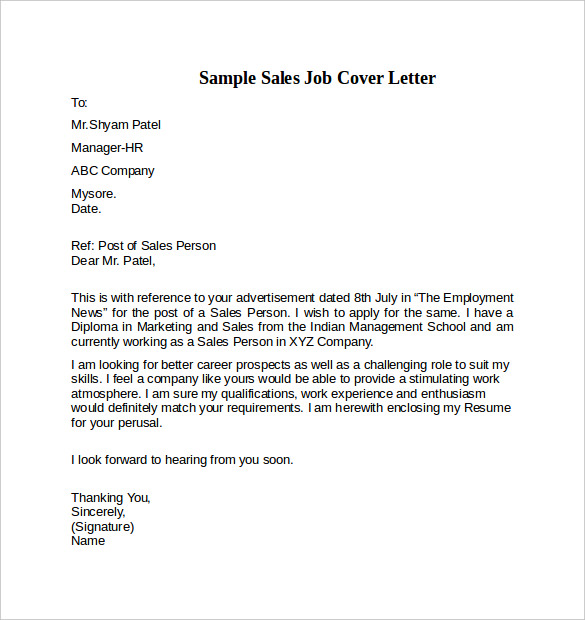 cover letter sales position - Professional Cover Letter Sample