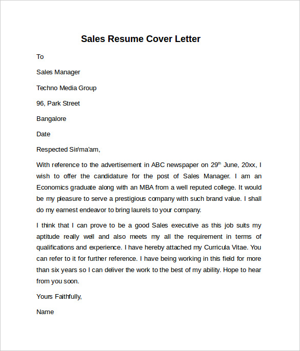 outside sales manager cover letter