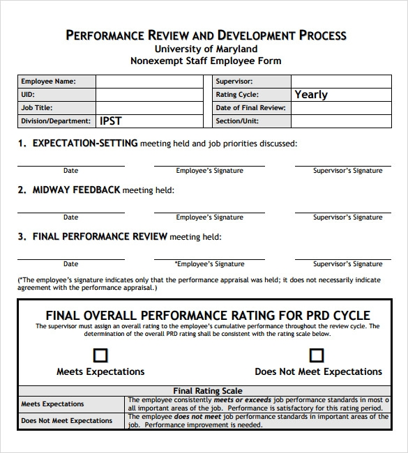 Employee Performance Review PDF  Performance Review Template Word