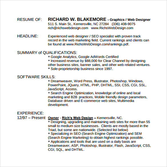 graphic design resume - Graphic Design Resume Samples Pdf