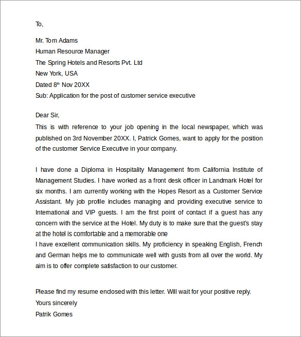 Customer Service Cover Letters - 8+ Download Free ...