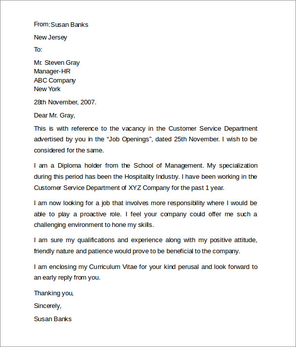 Customer service cover letters 8 download free for Sample cover letter for a customer service position