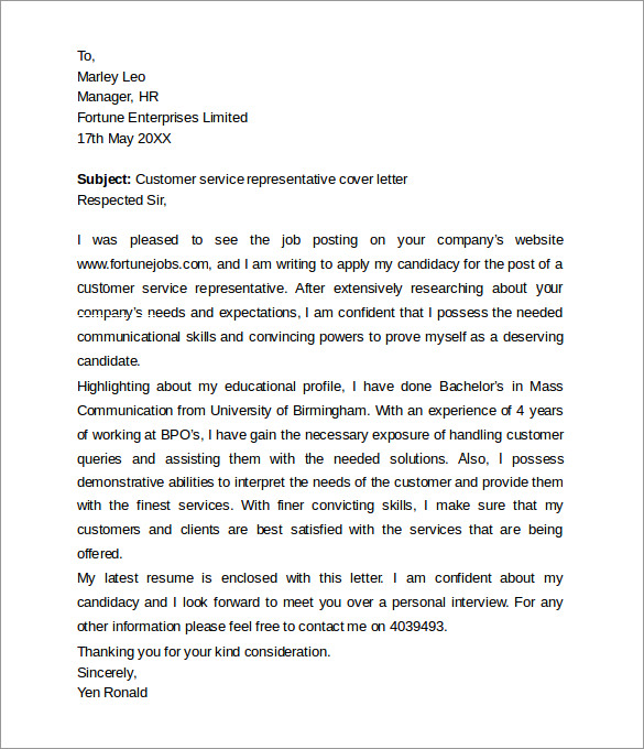 Cover Letter  Cover Letter For Customer Service Rep  Cover