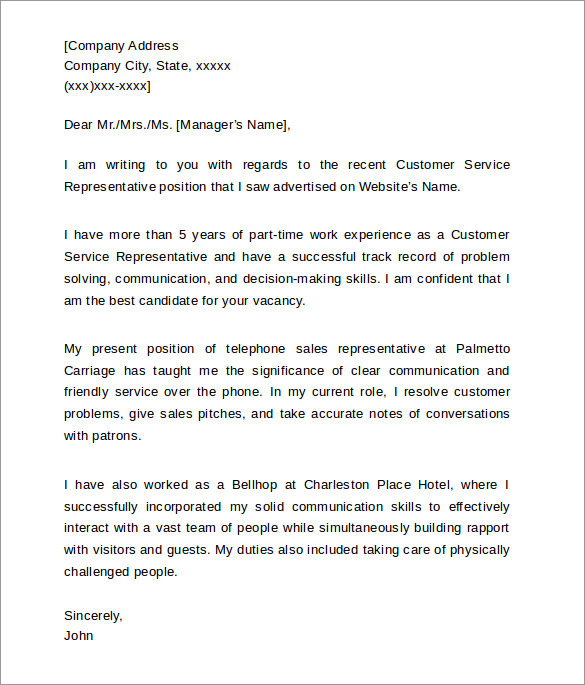 Service Cover Letter Example Customer Service Cover Letter