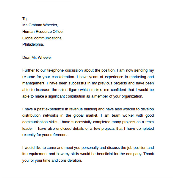 Simple Cover Letter Example For Customer Service