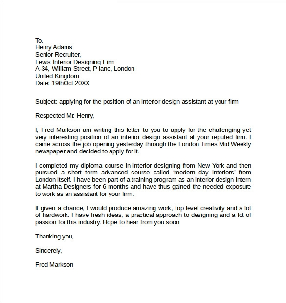 Simple Cover Letter Examples - 10+ Download Free Documents In Pdf