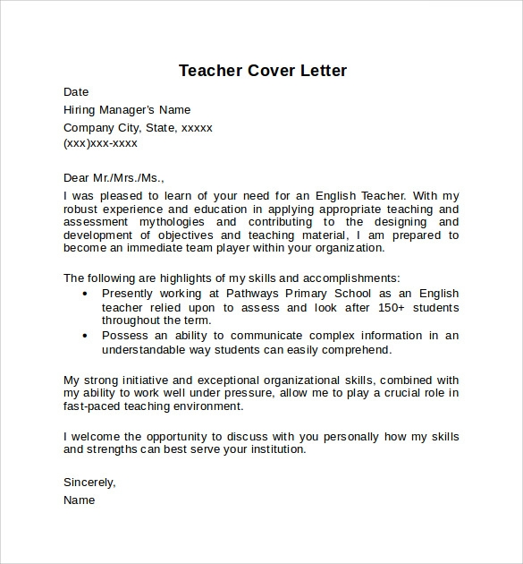 Teacher Cover Letter Example - 10+ Download Free Documents In Pdf