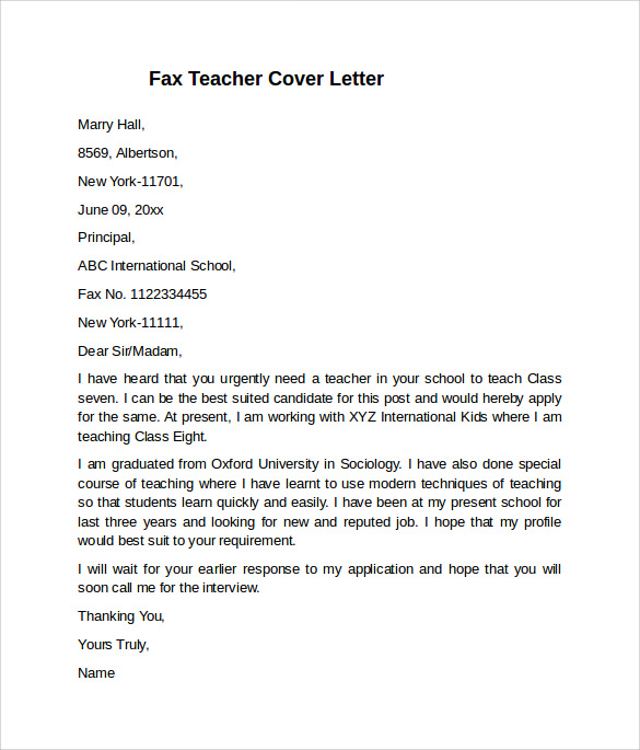 fax teacher cover letter example