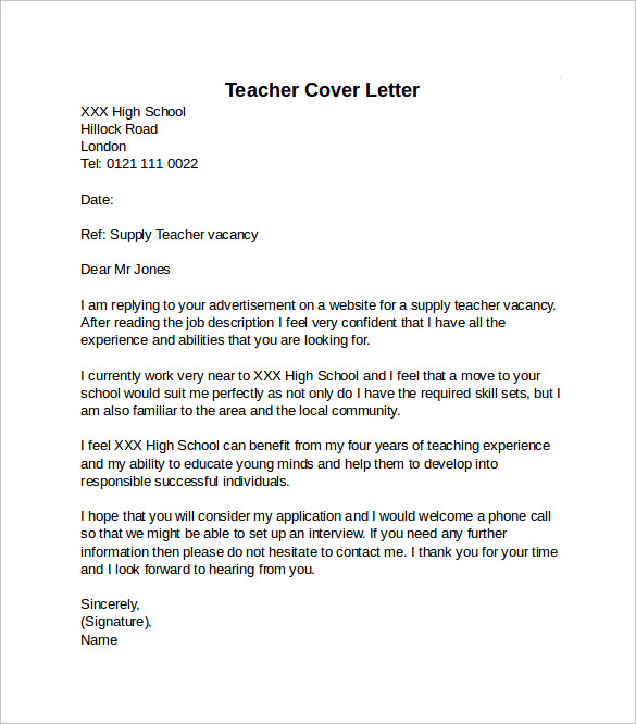 10 teacher cover letter examples download for free for Cover letters for experienced teachers
