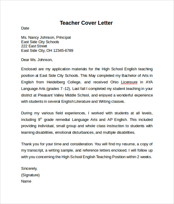 10 teacher cover letter examples download for free for Sample teaching cover letters for new teachers