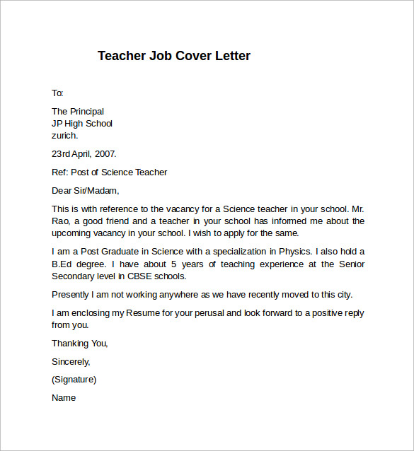 10 teacher cover letter examples download for free for Sample cover letter for online teaching position
