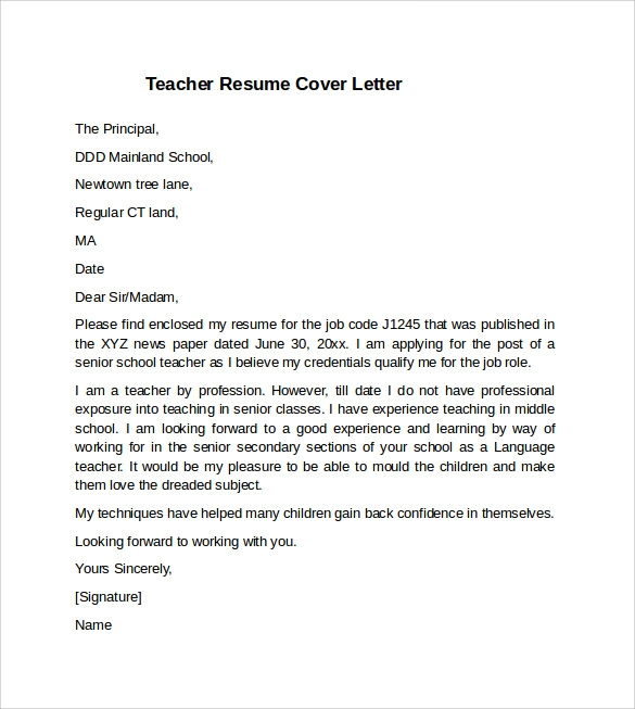 Teacher Cover Letter Example - 10+ Download Free Documents