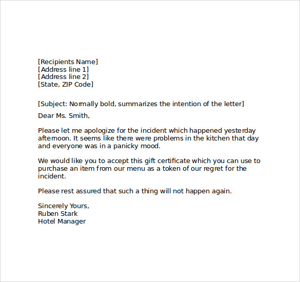 Sample Hotel Apology Letter