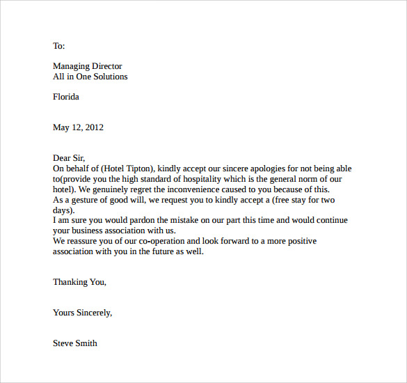 Example Apology Letter. Download Hotel Apology Letter Sample Hotel