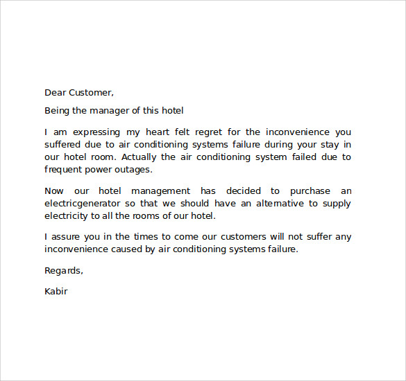 Sample hotel apology letter 7 download free documents in pdf word letter hotel to customer for apology spiritdancerdesigns Image collections