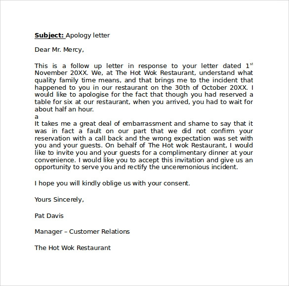 professional apology letter 9 download free documents