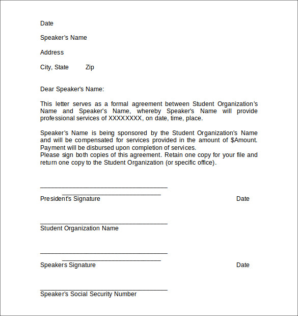 Sample Letter Of Agreement 5gE0oGnm