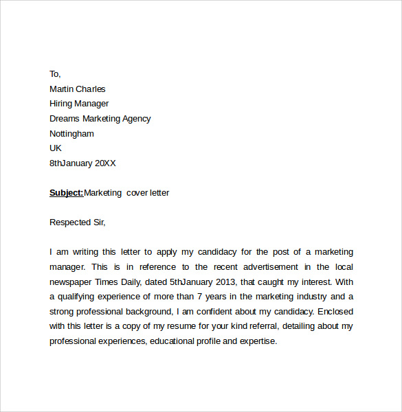 advertising cover letters