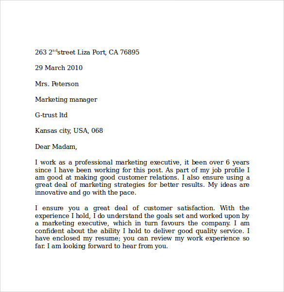 format of marketing letter