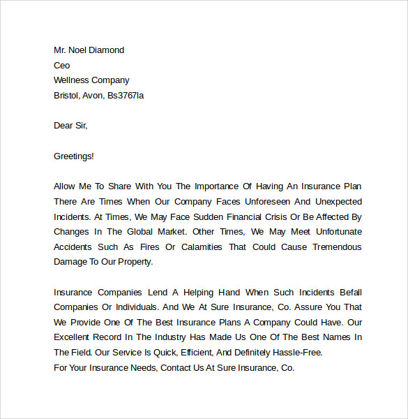 insurance marketing cover letter