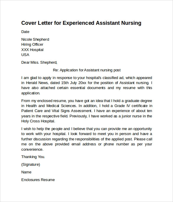 istant-Nursing-Cover-Letter-for-Experienced Sample Application Letter For Nusring Aid on