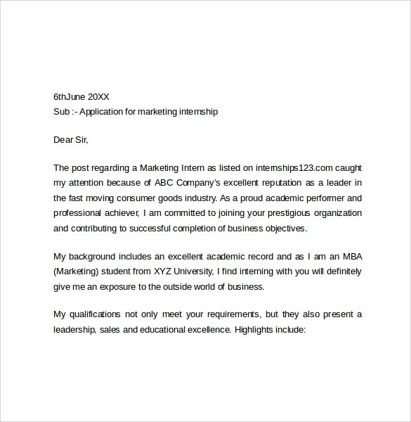 marketing intenship cover letter