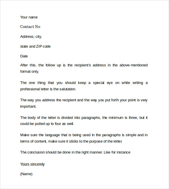 sample professional cover letter example