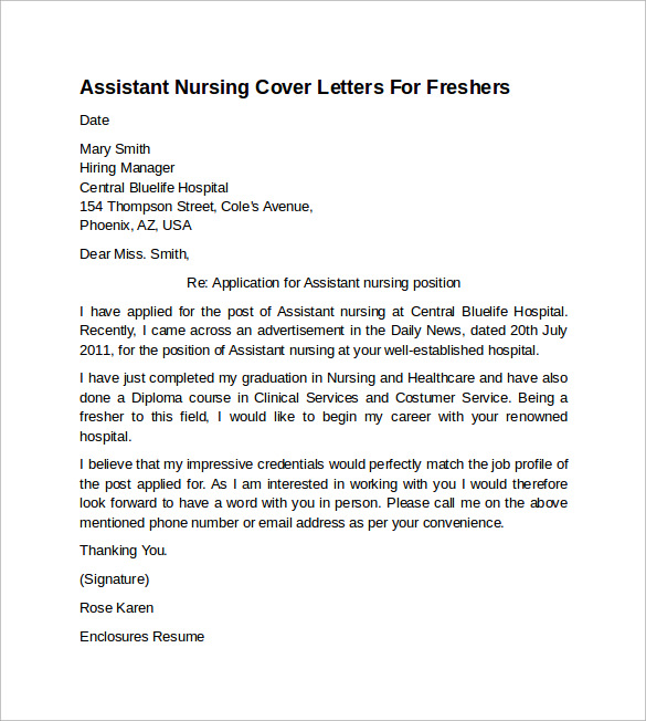 nursing cover letter example
