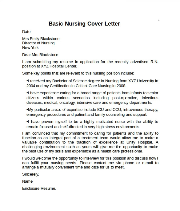 Nursing Cover Letter Example   Download Free Documents In Pdf