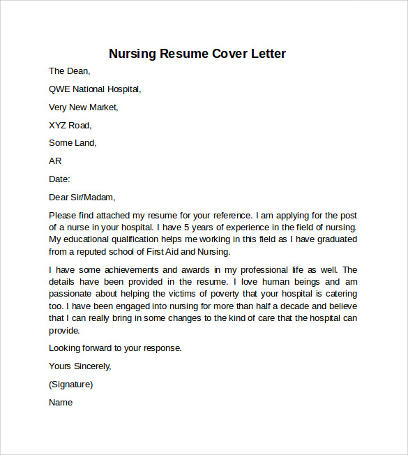 Cover letter for nursing resume