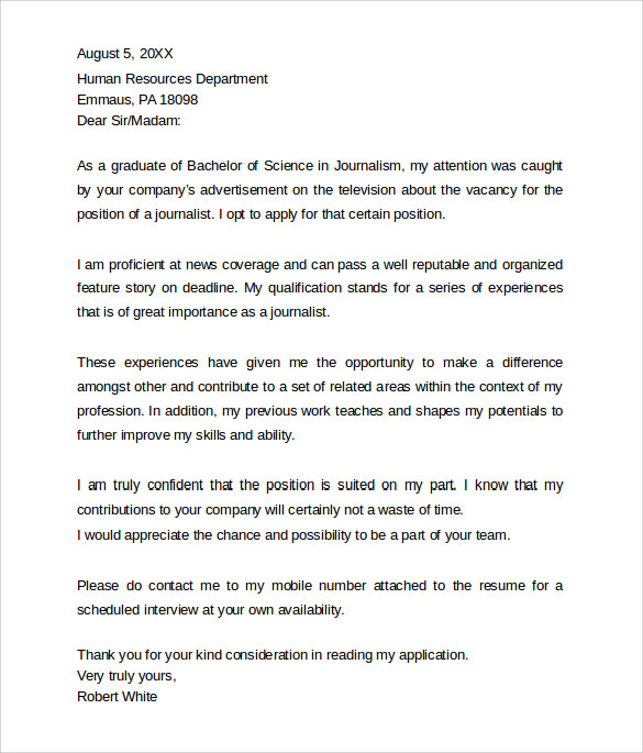 professional journalism cover letter - Cover Letter To Hr Department