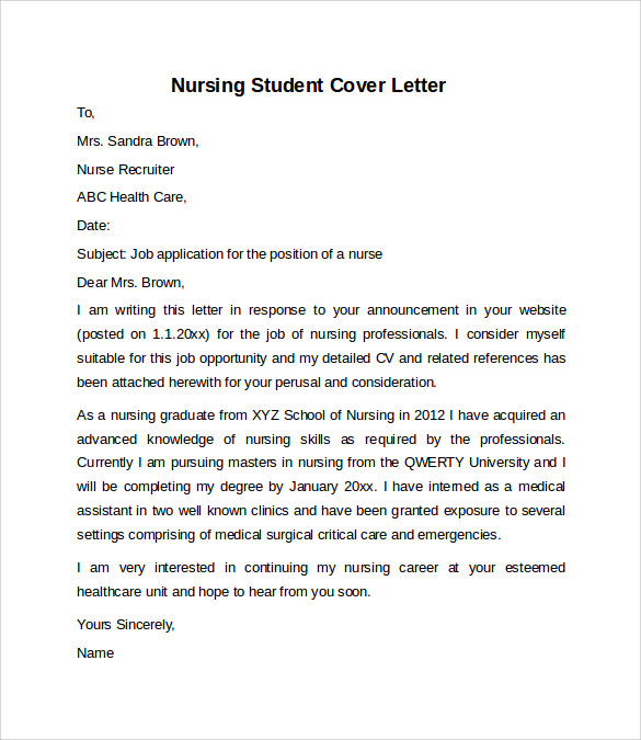 nursing student cover letter example