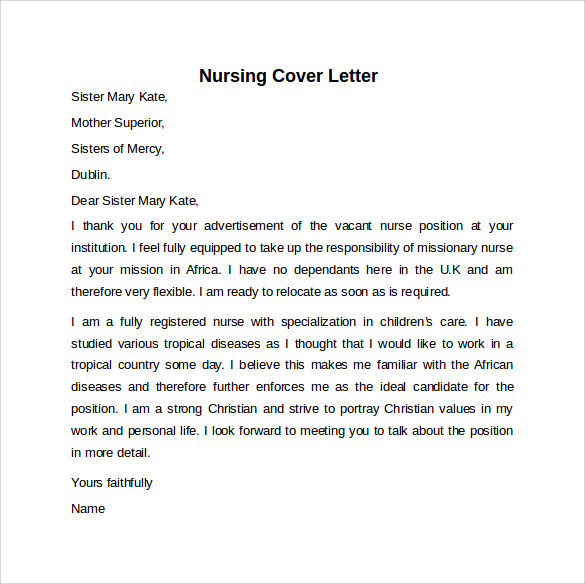 sample nursing cover letter example