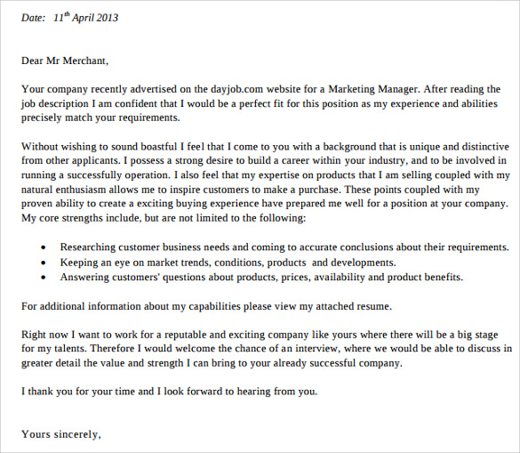 pdf download marketing cover letter