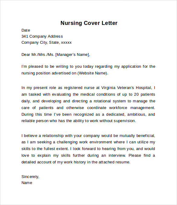 Nursing Cover Letter Example 10 Download Free Documents