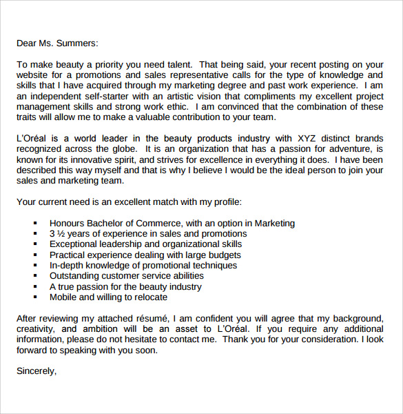 free pdf marketing cover letter