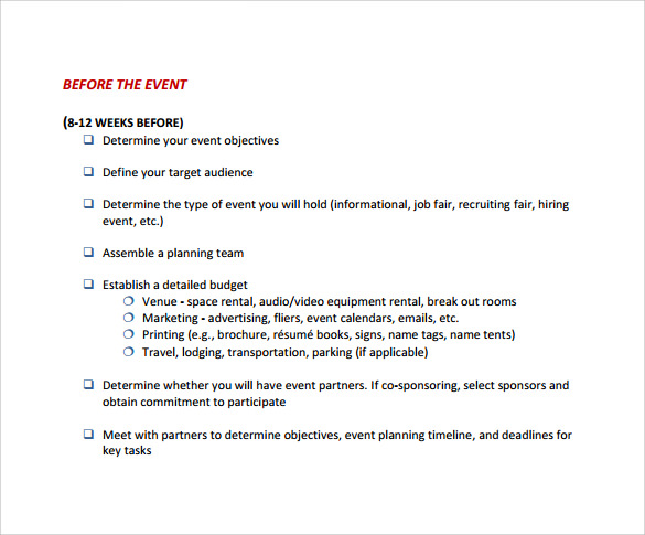 Sample Event Checklist Template 6 Free Documents Download In – Sample Event Checklist Template