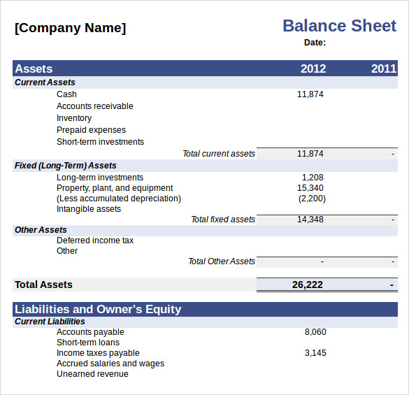 Balance Sheet Excel Sample  CityEsporaCo