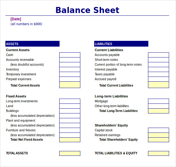 Balance Sheet Template Excel  Free Printable Balance Sheet Template