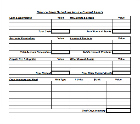 business balance sheet template free