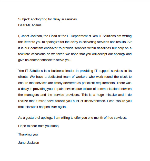 Doc648865 Business Apology Letter Template 17 Best images – Business Apology Letter Template