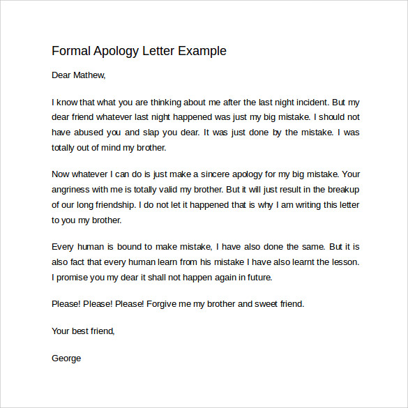 Formal Apology Letter Example  Letter Of Apology Template