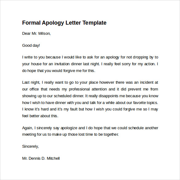 Sample Formal Apology Letter 7 Download Free Documents in Word PDF – Format of Apology Letter