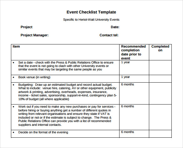 sample event checklist template 8 free documents in pdf word
