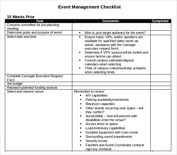 event planning tools templates - 7 event checklist templates sample templates