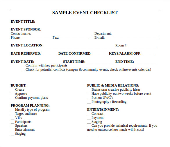 sample event checklist template 8 free documents in pdf word. Black Bedroom Furniture Sets. Home Design Ideas