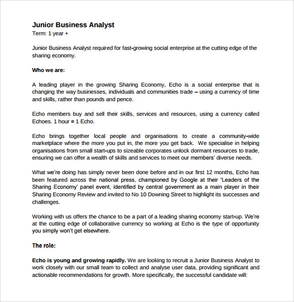 business analyst resume standard